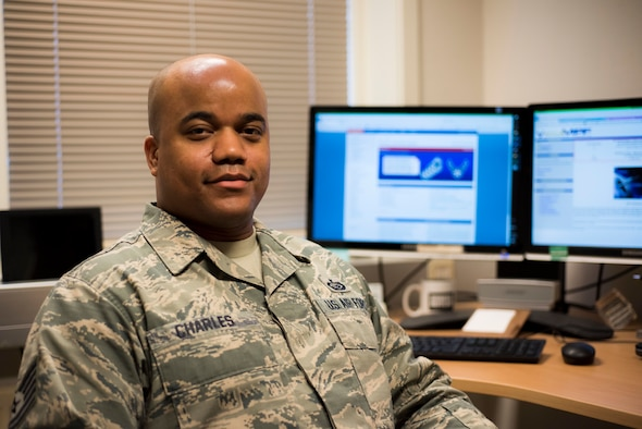 Air Force Tech Sgt. Leon Charles, 426th Air Base Squadron NCO in charge of administration, demonstrates his work as a personnel specialist, January 31, 2020, at Jatta Military Compound, Stavanger, Norway. Like all members of the 426th, Tech Sgt. Charles holds multiple positions in the unit's manning in order to keep unit functions running smoothly. (U.S. Air Force photo by Technical Sergeant Aaron Thomasson)