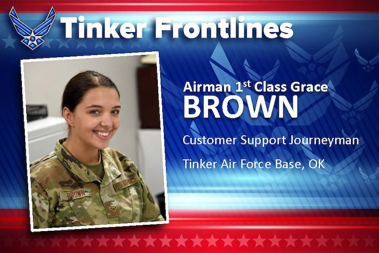 Airman 1st Class Grace Brown has served in the U.S. Air Force for less than a year and works as a customer support journeyman in the 72nd Force Support Squadron Military Personnel Flight in the CAC/ID Office.