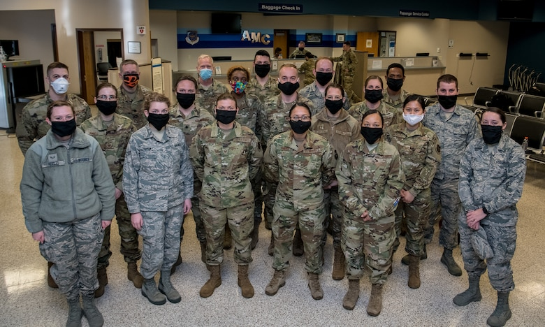 Medical personnel from the 932nd Airlift Wing deploy in support of the COVID-19 relief efforts in New York, April 22, 2020, Scott Air Force Base, Illinois . These members are nurses, medical technicians and radiologists, who volunteered to reply with less than a two day notice.  (Air Force photo by Christopher Parr)