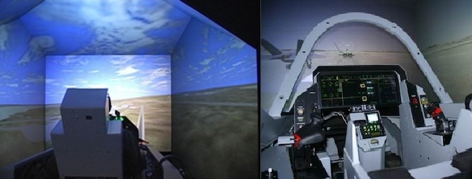 Flight simulators have helped the 772nd Test Squadron provide test capabilities to the F-35 Integrated Test Force at Edwards Air Force Base, California. Simulators provide engineers a safe testing environment while mitigating the spread of the COVID-19 coronavirus. (Air Force photo illustration courtesy of 772nd Test Squadron)