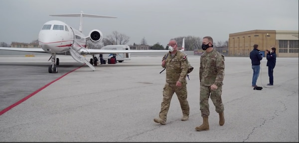 Nine members of the Polish military's Medical Corps arrive in Chicago to support the state's response to COVID-19 April 23, 2020. The Polish doctors, nurses, and emergency medical technicians recently treated COVID-19 patients in Italy and Poland. They are visiting Illinois as part of the Illinois National Guard's State Partnership Program with the Polish military.