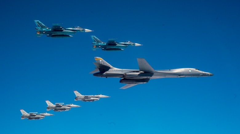 B-1 Lancer, F-16 Fighting Falcons and Air Self-Defense Force F-2s conducting a training exercise off the coast of northern Japan.