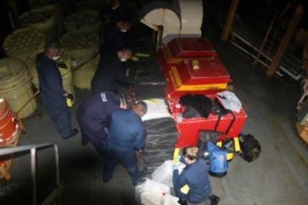 Coast Guard boat crew recovers 40 bales of cocaine.