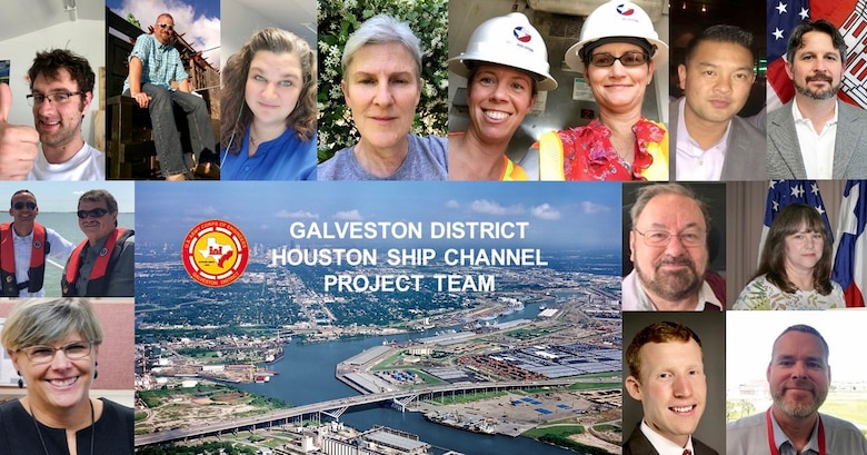 Members of the Houston Ship Channel Expansion Project submitted old photos of the Project Development Team (due to the social distancing guidelines for COVID19) to commemorate the signing of Houston Ship Channel Expansion Improvement Project Chief's Report.   Left to Right Top Row: David Clark, John Campbell, Bernice Taylor, Cheryl Jaynes, Kenny Pablo, Trish Campbell and AndreaContanzaro, Kenny Pablo, Maglio Corragio  Second Row - Tyler Henry and Brian Harper, Thomas White, and Nancy Cunningham Young  Last Row: Sheri Willey, Walker Messer and Rob Thomas