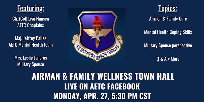 graphic announcing town hall with AETC shield and white letters