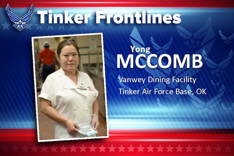 Yong McComb, the lead senior cook at the Vanwey Dining Facility, has worked at Tinker Air Force Base for almost 10 years. Her duties at the Vanwey include making sure the cooks are following correct recipes and procedures, baking, cooking and carving meat.