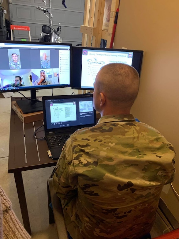 Students in the U.S. Army Recruiting and Retention College's Station Commander Course virtually reported April 20 for the school's first-ever distance learning course.