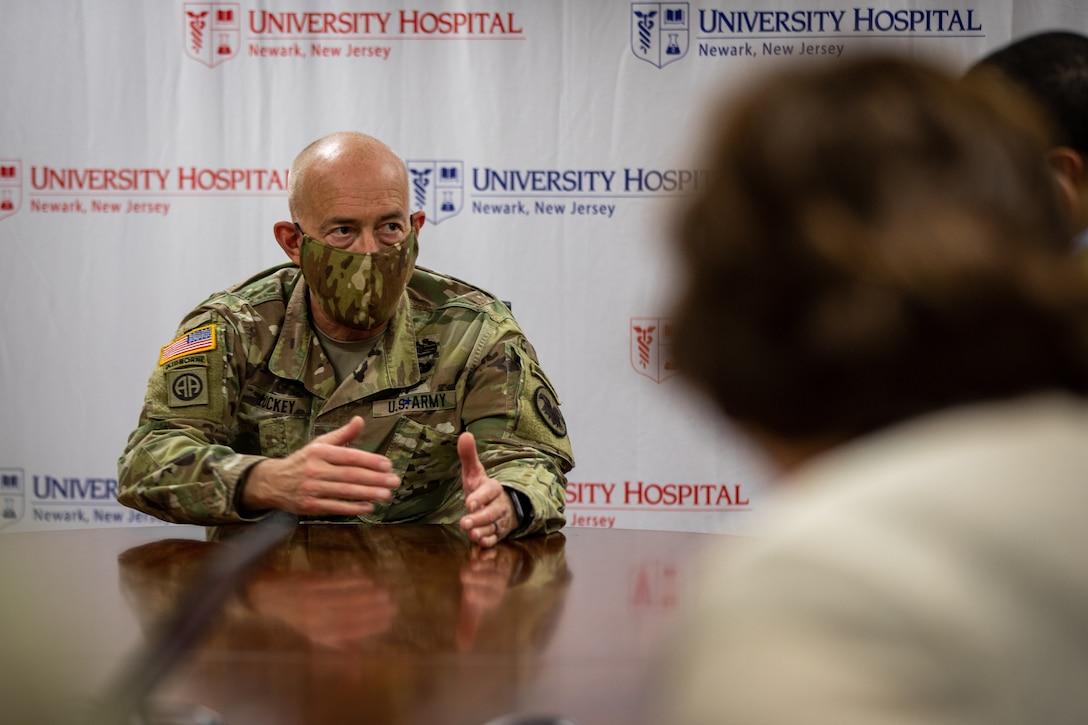Lt. Gen. Charles D. Luckey at University Hospital, Newark, N.J.