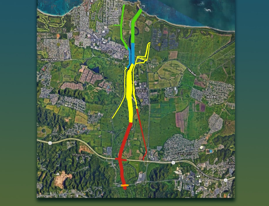 Google earth map of the project area, with color outlines of each contract.