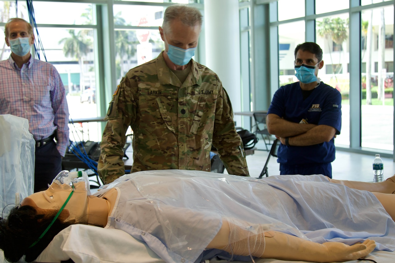 Doctors, nurses and medics from the Florida National Guard joined Florida International University at the Miami Beach Convention Center to conduct training in preparation to staff the center in the event it is needed in response to COVID-19.