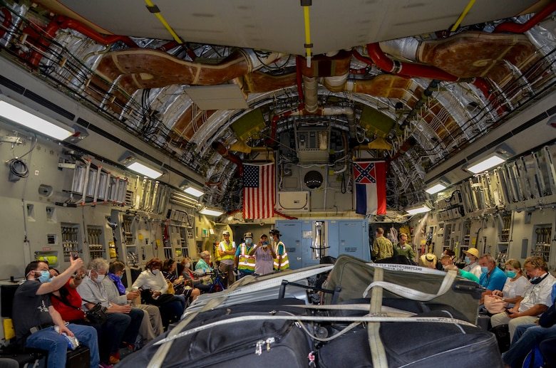 Americans onboard a C-17 Globemaster III assigned to the 172nd Airlift Wing, Mississippi Air National Guard, en route back to the United States. The aircrew returned 90 Americans from Panama and Bogota, Colombia, to Florida April 1-2, 2020.