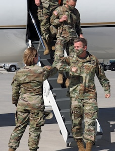 Lt. Gen. Laura J. Richardson, United States Army North Commanding General,greets Gen. James C. McConville