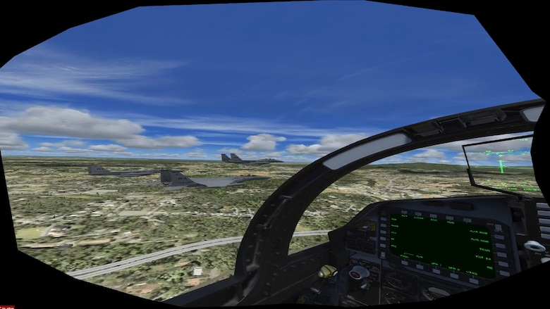 A view from the cockpit during a four aircraft formation during a Virtual Reality flyover during the iRacing NASCAR Pro Invitational hosted by the Richmond Raceway April 20, 2020.