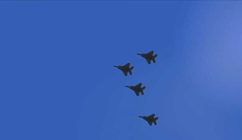 A view of a four aircraft formation during a Virtulal Reality flyover during the iRacing NASCAR Pro Invitational hosted by the Richmond Raceway April 20, 2020.