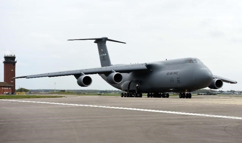 C-5 Super Galaxy parked on ramp at RAF Mildenhall