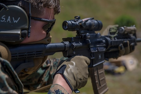 U.S. Marine Corps Cpl. Steven Weightman, a section leader with Battalion Landing Team, 1st Battalion, 4th Marine Regiment, 15th Marine Expeditionary Unit, participates in a Raid Leaders Course combat marksmanship range at Marine Corps Base Camp Pendleton, California, April 22, 2020.