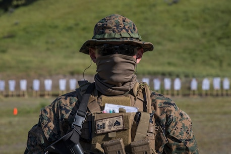 U.S. Marine Corps Cpl. Logan Voight, a squad leader with Battalion Landing Team, 1st Battalion, 4th Marine Regiment, 15th Marine Expeditionary Unit, poses for a portrait during a Raid Leaders Course combat marksmanship range at Marine Corps Base Camp Pendleton, California, April 22, 2020.