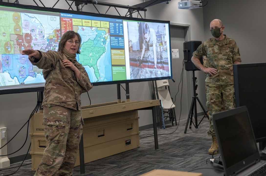 Photo of Task Force-Southeast Future Operations Center briefing COMACC