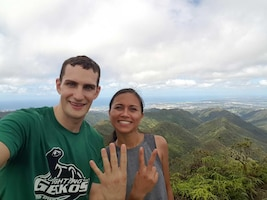 Capt. Sean Zoufaly, 17th Operational Weather Squadron Operations flight commander, and Krystal Reiter complete a 4.2-mile hike to honor Pat Tillman in Hawaii, April 18, 2020. The 17th OWS hosted Pat's Run to promote Airman fitness and honor the fallen. (Courtesy photo)