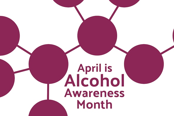 """Graphic shows circles connected by lines with the words """"April is Alcohol Awareness Month"""" underneath."""