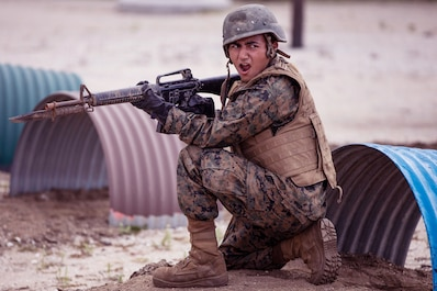 A recruit with Fox Company, 2nd Recruit Training Battalion participates in the Bayonet Assault course at Marine Corps Recruit Depot, San Diego, April 21, 2020.