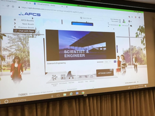 screen showing virtual career fair platform