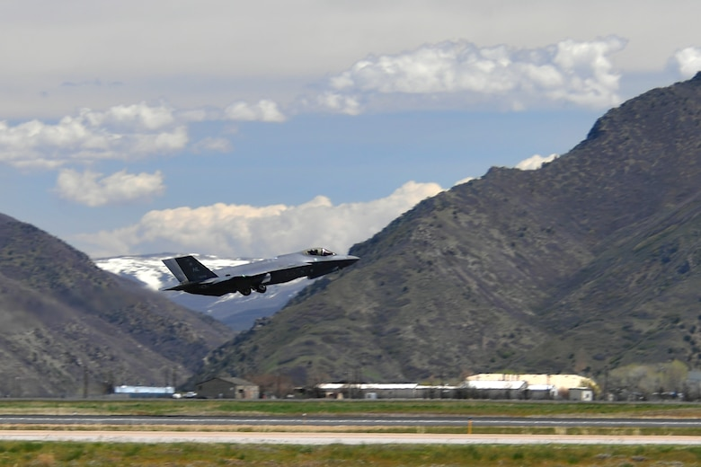 A photo of an F-35A taking of from Hill Air Force Base, Utah.