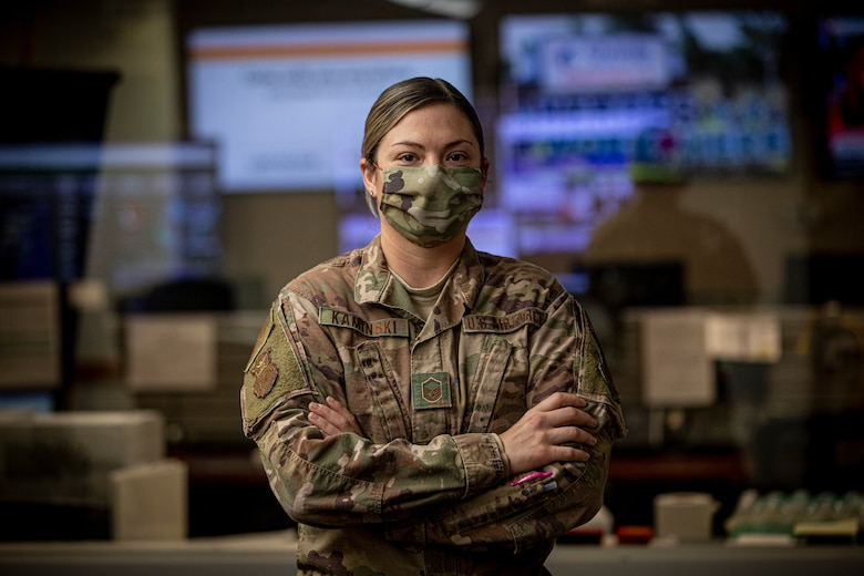 U.S. Air Force Master Sgt. Kimberly Kaminski, with the 108th Wing, in the New Jersey National Guard's Joint Operations Center in the Homeland Security Center of Excellence, Lawrenceville, N.J., April 22, 2020. New Jersey Soldiers and Airmen and active duty military members and civilians from U.S. Northern Command are working together in the center to support the state's response efforts to COVID-19.