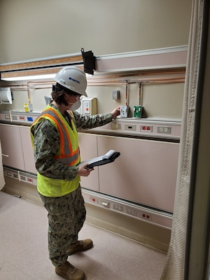 Navy Lt. Miranda L. Bassett, a construction manager for the NSA Crane Public Works Department, is deployed to Chicago on help the U.S. Army Corps of Engineers (USACE) convert spaces into alternate care facilities.