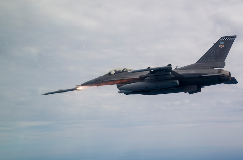 "The first AIM-120 ""AMRAAM"" shot using the first USAF Post Block F-16 utilizing the new APG-83 AESA radar shot by Maj. Joseph ""Rocket"" Schenkel over the gulf near Eglin AFB, FL."