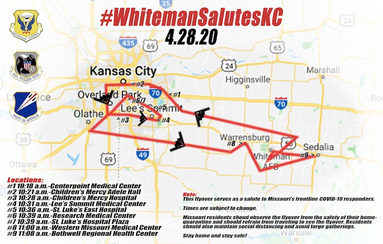 The #WhitemanSalutesKC tentative flight plan for April 28, 2020. Should weather delay the flight, the event will be delayed until April 29. The flyover major medical facilities in Kansas City inteds to honor and express Team Whiteman's gratitude for all medical and healthcare professionals, essential employees and volunteers in the fight against COVID-19. (U.S. Air Force graphic by Tech. Sgt. Heather Salazar)