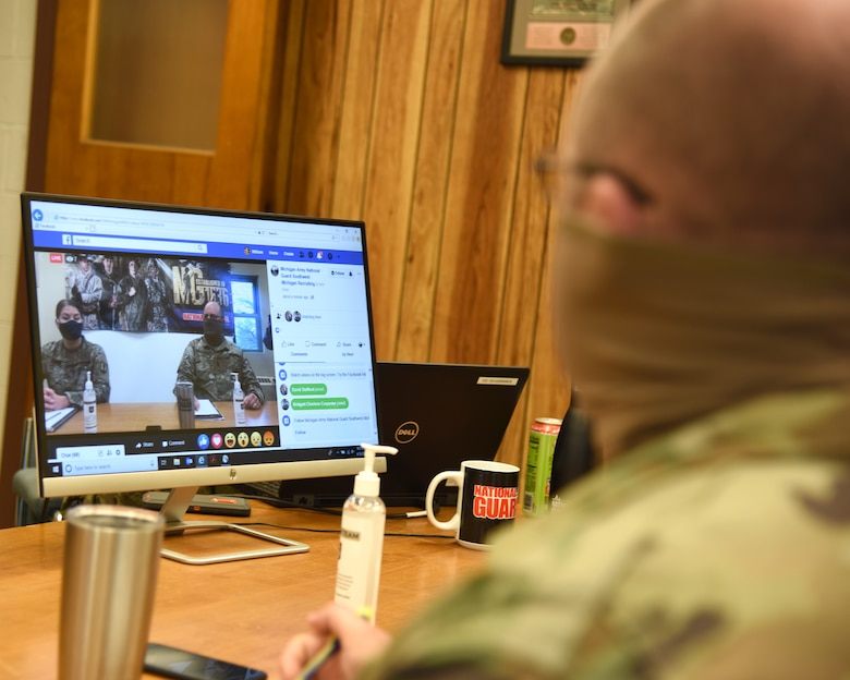 Sgt. First Class Jason Brautigam, recruiting and retention noncommissioned officer, Michigan Army National Guard conducts a question and answer session via the internet due to social distancing restrictions caused by the COVID-19 pandemic, Dowagiac, Michigan, April 24, 2020. Recruiters are charged to develop and implement programs and tools necessary to achieve mission success and recruiters have turned to innovation techniques in order to meet mission requirements.