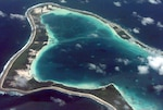 Aerial view of the island Diego Garcia