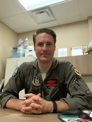 Maj. Jeremy Mabry, 301st Fighter Wing Sexual Assault Prevention and Response Program victim advocate, poses for a picture, April 19, 2020, at U.S. Naval Air Station Joint Reserve Base Fort Worth, Texas. Mabry was a pilot before accepting a position as a victim advocate.
