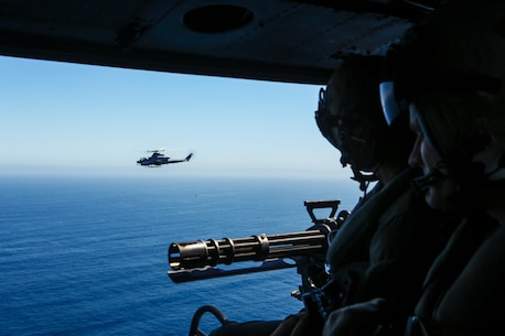 Aerial gunnery training over San Clemente Island