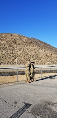 SMSgt Bradley Bennett and TSgt Jilian McGreen training on TDY in California in February 2020.