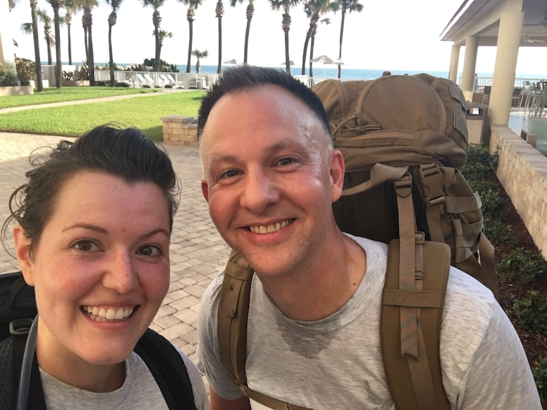 TSgt Jilian McGreen and SMSgt Bradley Bennett training in PT uniforms while on TDY in Florida in October 2019.