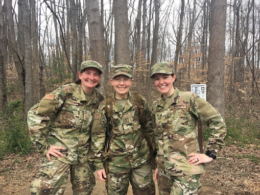Left to right: CMSgt Jennifer Cox, CMSgt Deborah Volker, TSgt Jilian McGreen