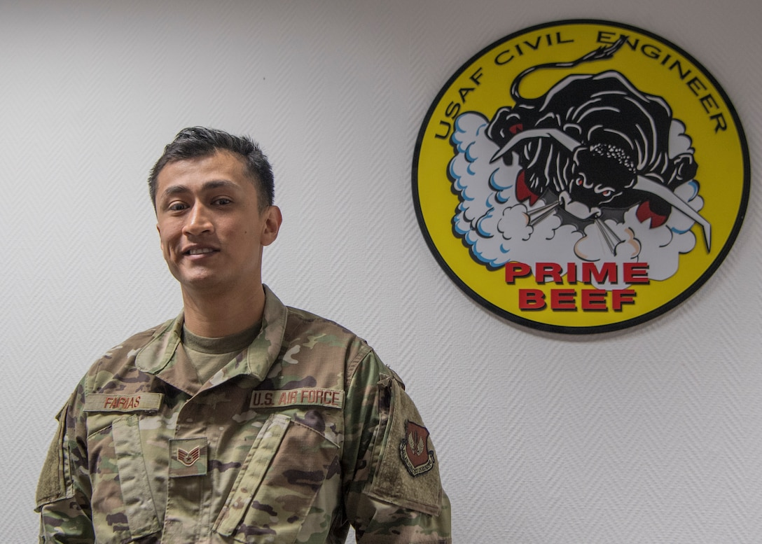 U.S. Air Force Staff Sgt. Abraham Farias, 786th Civil Engineer Squadron expeditionary engineering training manager, poses for a photo at Ramstein Air Base, Germany, April 23, 2020