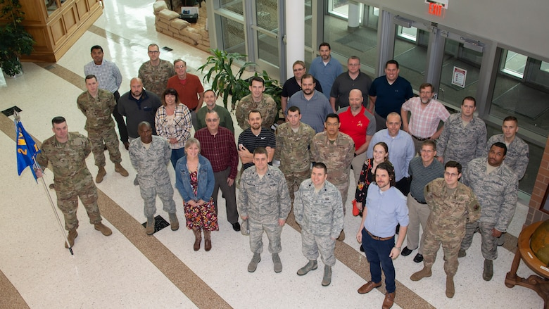 Group photo of 16th Weather Squadron members from above.