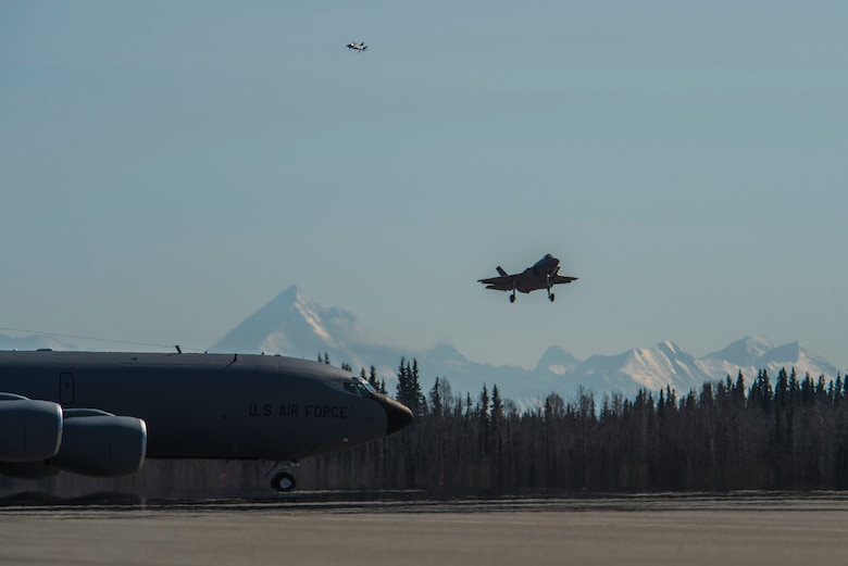 Two U.S. Air Force F-35A Lightning II fifth-generation aircraft assigned to the 388th Fighter Wing prepare to land at Eielson Air Force Base, Alaska, April 27, 2020.