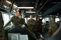 U.S. Marine Corps and Navy leaders visit the guided-missile destroyer USS Bainbridge (DDG-96), aboard Naval Station Norfolk, Norfolk, Virginia, Jan. 31, 2020. The USS Bainbridge is an Arleigh Burke-class guided missile destroyer. The tour familiarized U.S. Marine Corps leaders with the capabilities of the vessel, increasing naval integration. (U.S. Marine Corps Photo by Cpl. Desmond Martin/released)