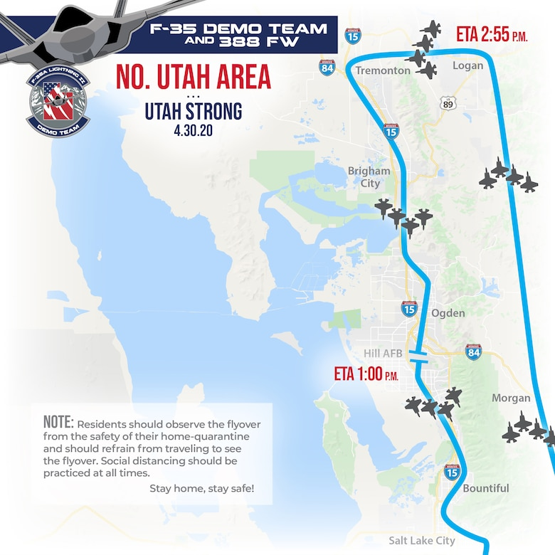 A graphic of the Utah Strong Flyover route
