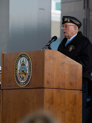 """World War II Medal of Honor recipient Hershel Woodrow """"Woody"""" Williams, a retired U.S. Marine, speaks during the ship commissioning ceremony for the USNS Hershel """"Woody"""" Williams at the Half Moone Cruise and Celebration Center in Norfolk, Virginia, on Mar. 7, 2020. The USNS Hershel """"Woody"""" Williams will serve as a flexible platform to support a variety of missions, including air mine countermeasures, counter-piracy operations, maritime security and humanitarian missions. The Ship is named in honor of Williams for his gallant efforts during the battle of Iwo Jima. (U.S. Marine Corps Photo by Cpl. Desmond Martin)"""