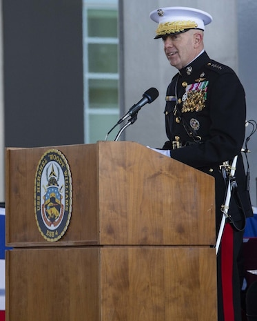 """U.S. Marine Corps Commandant, General David H. Berger, speaks during the ship commissioning ceremony for the USNS Hershel """"Woody"""" Williams at the Half Moone Cruise and Celebration Center in Norfolk, Virginia, on Mar. 7, 2020. The USNS Hershel """"Woody"""" Williams will serve as a flexible platform to support a variety of missions, including air mine countermeasures, counter-piracy operations, maritime security and humanitarian missions. The Ship is named in honor of Williams for his gallant efforts during the battle of Iwo Jima. (U.S. Marine Corps Photo by Cpl. Desmond Martin)"""