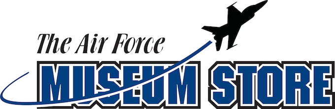 Logo with blue font reading The Air Force Museum Store with black airplane fling through it.