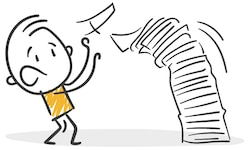a graphic of a character next to a tall stack of papers toppling over