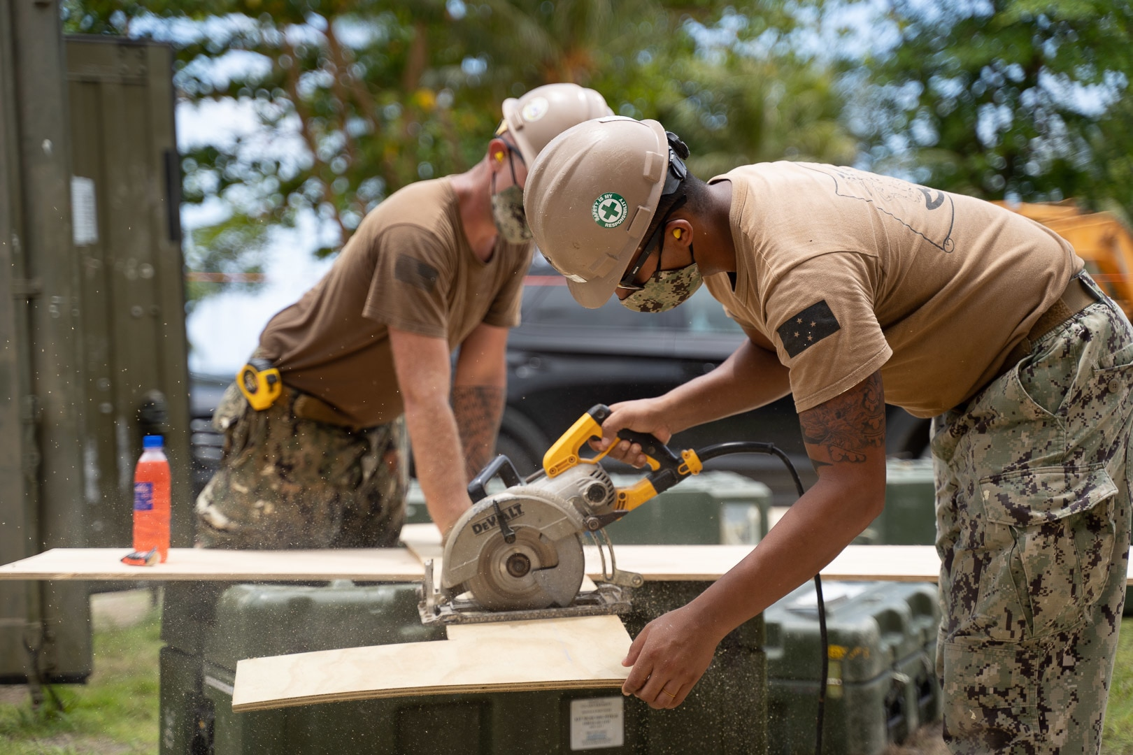 U.S. Navy Seabees with NMCB-5 Aide Pohnpei Island in COVID-19 Preparation