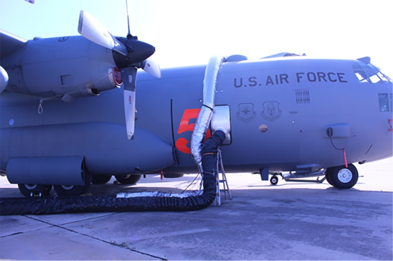 Decontamination using the Joint Biological Agent Decontamination System on a C-130 airplane interior is being performed to extinguish mold. (Courtesy photo)