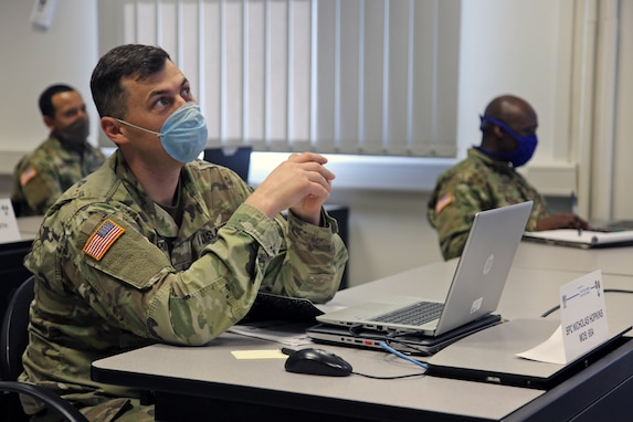 U.S. Army Spc. Nicholas Hopkins, a biomedical equipment technician with U.S. Army Medical Materiel Center-Europe, interacts with his instructor through video teleconferencing during a virtual Basic Leader Course locally hosted by the 7th Mission Support Command in Kaiserslautern, Germany, April 21, 2020. Two 7th MSC noncommissioned officers are providing leadership as assistant instructors for one of 20 classrooms in four countries across Europe during the first-ever four-week virtual BLC course being led by the 7th Army NCO Academy out of Grafenwoehr, Germany.